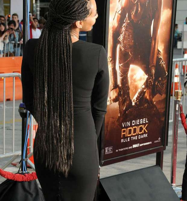 Keri Hilson box braids long red carpet