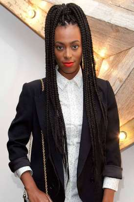 Solange Long Box Braids High Pony Tail
