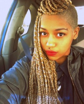 mixed blond box braids