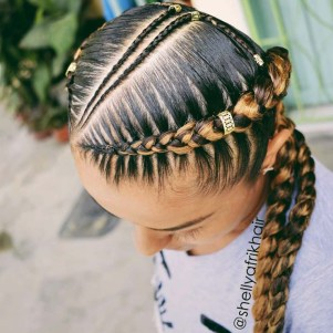 Two cornrows with small braids in center