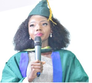 Best Graduating Student, Miss Odunayo Odunsi presenting her valedictory speech at the 27th Convocation Ceremony.