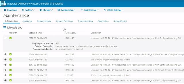 La consola web de iDRAC9 permite supervisar los eventos del sistema