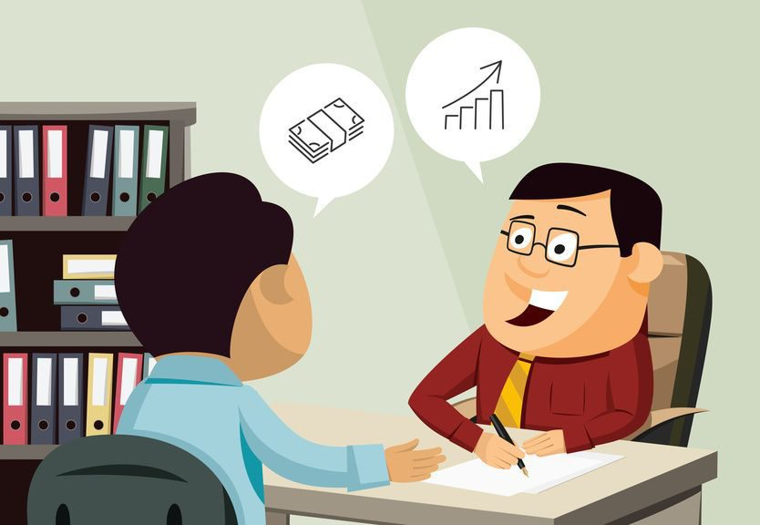 Happy businessman signs a contract of insurance. Man invests in real estate. Customer service. Financial advice. Simple vector illustration.