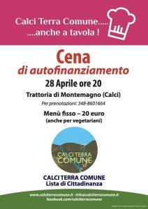 Calci Terra Comune - Cena di autofinanziamento il 28 aprile a Montemagno Si terrà presso la Trattoria di Montemagno (Calci), la cena di autofinanziamento della Lista di Cittadinanza, Calci Terra Comune. Menù fisso a 20 euro (anche per i vegetariani). Per prenotazioni: 348-8601664. Info: www.calciterracomune.it - info@calciterracomune.it facebook.com/calciterracomune