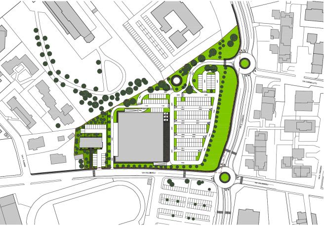 Progetto del nuovo centro commerciale Unicoop Firenze, tra via Luzzatto e via Valgimigli, di fronte all'attuale supermercato Coop