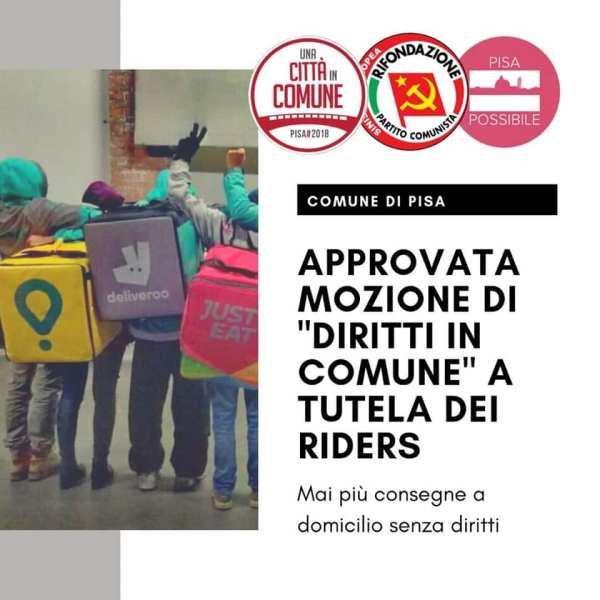 Approvata mozione di Diritti in Comune a tutela dei riders. Mai più consegne a domicilio senza diritti