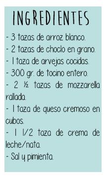 Ingredientes- Arroz horneado -