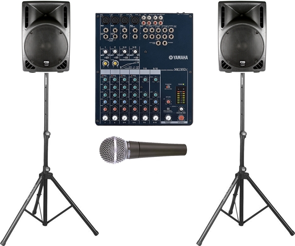 Audio oprema za prezentaciju - dva zvucnika, mikseta i mikrofon