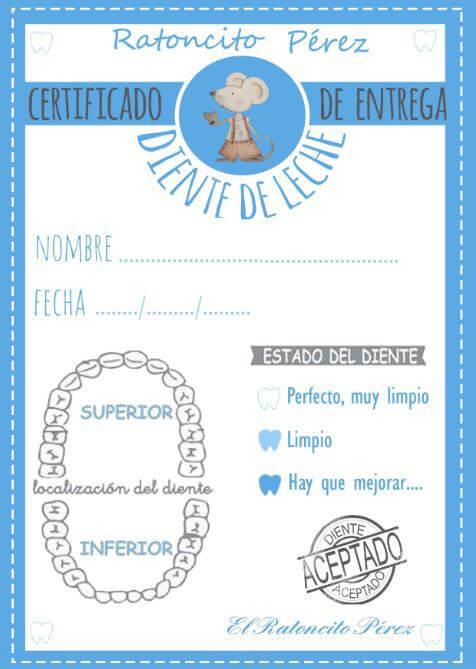 certificados y cartas del ratoncito perez