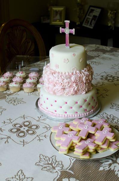 Pink Baptism Cake Cookies Amp Cupcakes U Name It