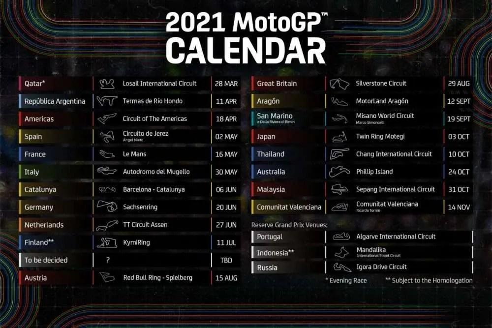 Calendario Provisional MotoGP 2021