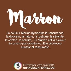Signification Couleur Marron : La couleur Marron symbolise la l'assurance, la douceur, la nature, le rustique, la sérénité, le confort, la solidité,. Le Marron est la couleur de la terre par excellence. Elle est douce, durable et rassurante. (un ange sur terre - unangesurterre.com)