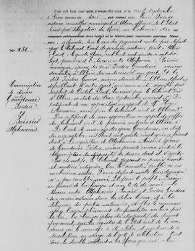Transcription du jugement de divorce entre Isidore Gourdoux et Alphonsine Beaussier, AM Alès, CD6/153, Mariages (1897-1898), vues 134/408 - Source : site officiel de la ville d'Alès
