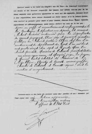 Transcription du jugement de divorce entre Isidore Gourdoux et Alphonsine Beaussier, AM Alès, CD6/153, Mariages (1897-1898), vue 135/408 - Source : site officiel de la ville d'Alès