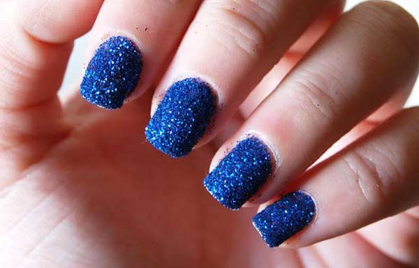 Unas Color Azul Rey Con Dorado Novocomtop