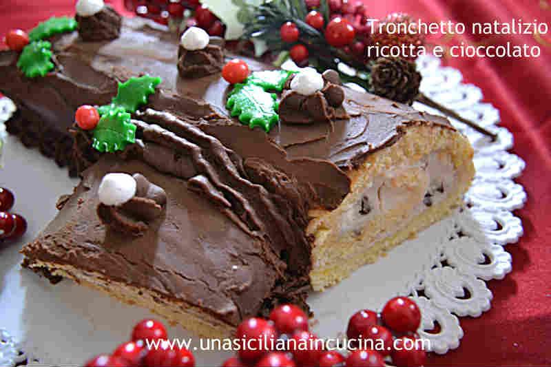 Tronchetto natalizio ricotta cioccolato