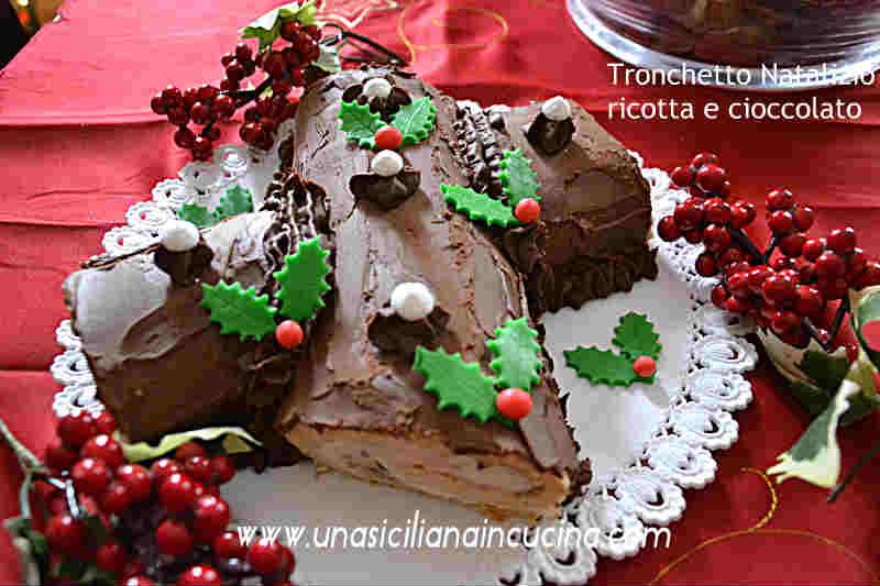 Tronchetto natalizio ricotta e cioccolato