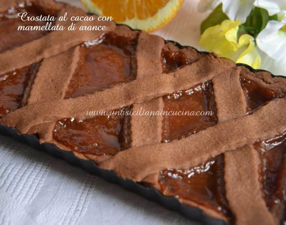 Crostata al cacao con marmellata di arance