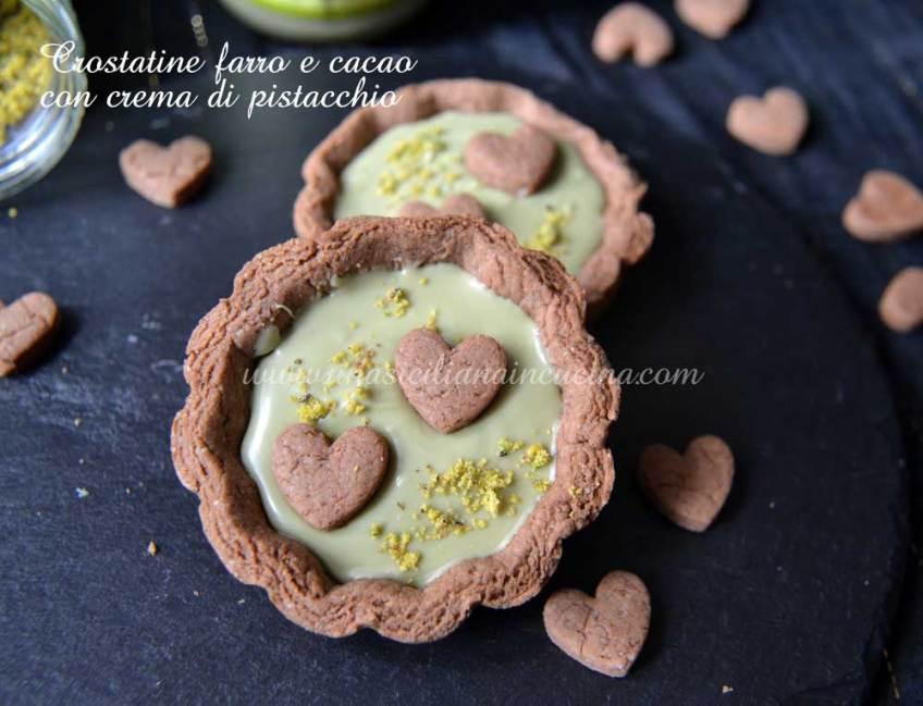Crostatine farro cacao e pistacchio