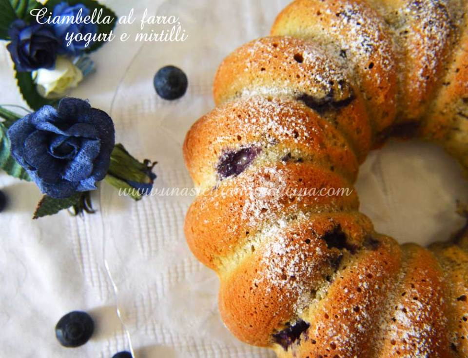 Ciambella al farro yogurt e mirtilli
