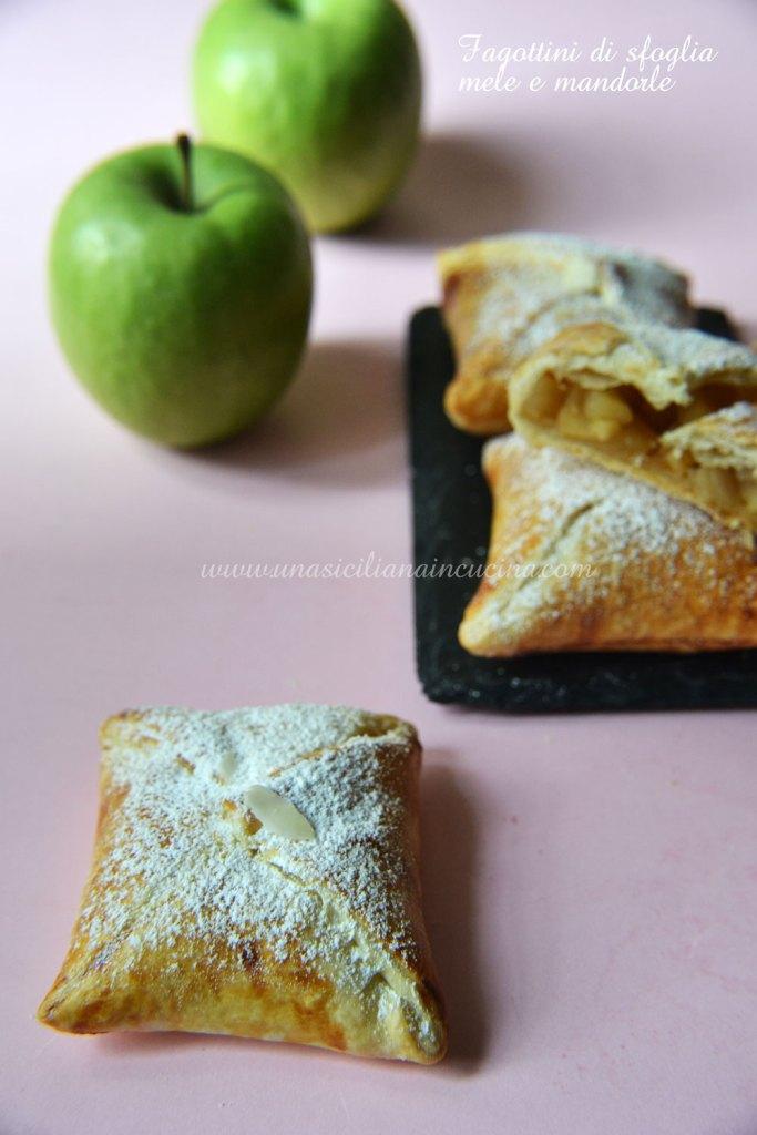 Fagottini di sfoglia mele e mandorle