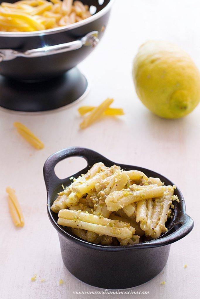 Casarecce pistacchio tonno e limone
