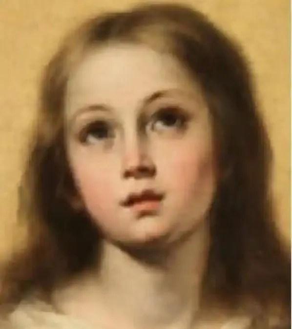 「無原罪の御宿り -エル・エスコリアル-」の修復前の顔拡大画像