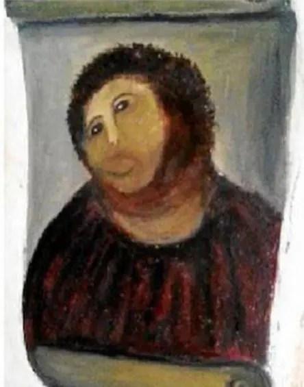 ボルハの教会のフレスコ画「この人を見よ」修復後