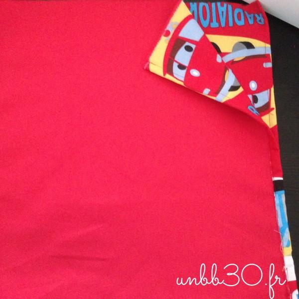 tissu rouge cars sac à dos enfants