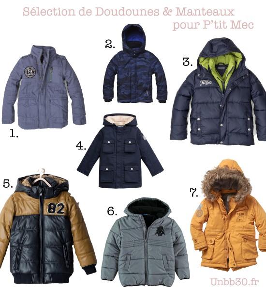 Selection doudounes et manteaux pour garçons