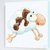 tableau-enfant-lours-kiwi-lOurs-Kiwi-dort-sur-le-mouton-nuage-1