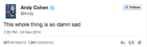 Andy Cohen Tweets about Ferguson
