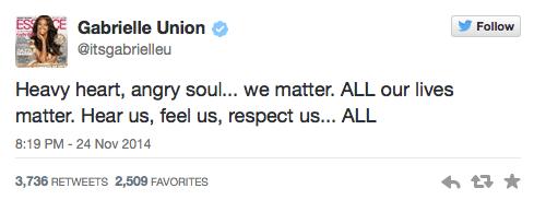 Gabrielle Union Tweets about Ferguson