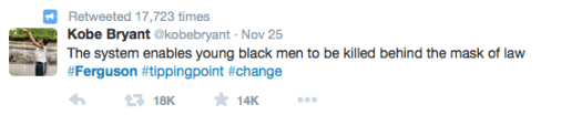 Kobe Bryant Tweets about Ferguson