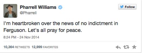 Pharrell Williams Tweets about Ferguson