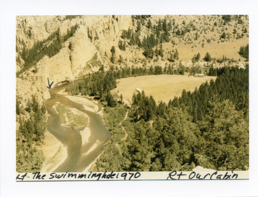 View of Angland cabin and canyon: circa 1970