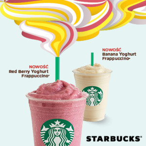 red berry and banana yogurt frappuccino