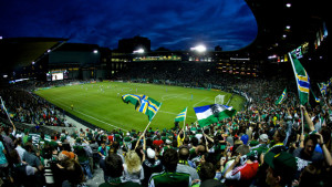 PORTLAND, OR - MAY 2: The Timbers Army wave flags at the start of the second half at JELD-WEN Field on May 2, 2013. (Craig Mitchelldyer/Portland Timbers)