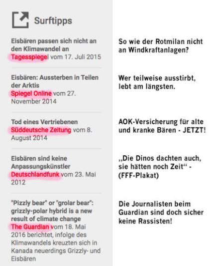 Tagesspiegel, Spiegel, Süddeutsche, DLF, Guardian. Klimafakten.de muss für Surftipps die eigene Informationsbubble nicht verlassen. Empfohlen werden nur Artikel, die perfekt in die hassle barrier passen. Die Bemerkungen auf der rechten Seite sind natürlich von mir.