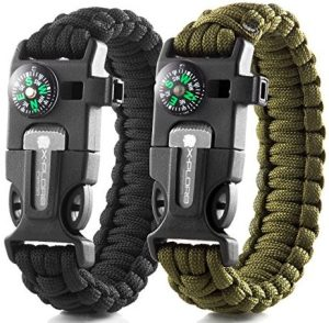 X-Plore Gear Emergency Paracord Bracelets | Set Of 2| The ULTIMATE Tactical Survival Gear| Flint Fire Starter, Whistle, Compass & Scraper/Knife| BEST Wilderness Survival-Kit For Camping/Fishing & More
