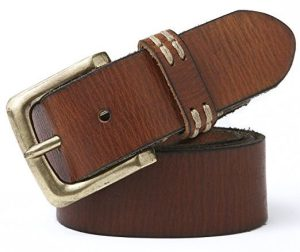 Leather Belts for Men - Men Genuine Leather Belt for Jeans with Solid Pin Buckle 40mm wide