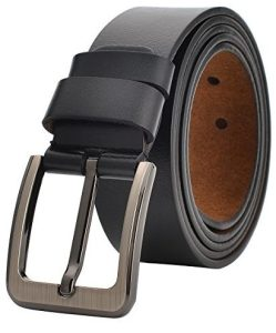VRLEGEND Men Dress Belt Jeans Casual Belt Genuine Leather Adjustable Up to 55""