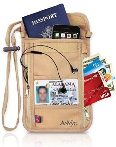 Neck Wallet-Travel Passport Holder with RFID Blocking as Best Protection-Travel Pouch