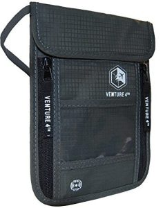 VENTURE 4TH Travel Neck Pouch Neck Wallet with RFID Blocking Passport Holder