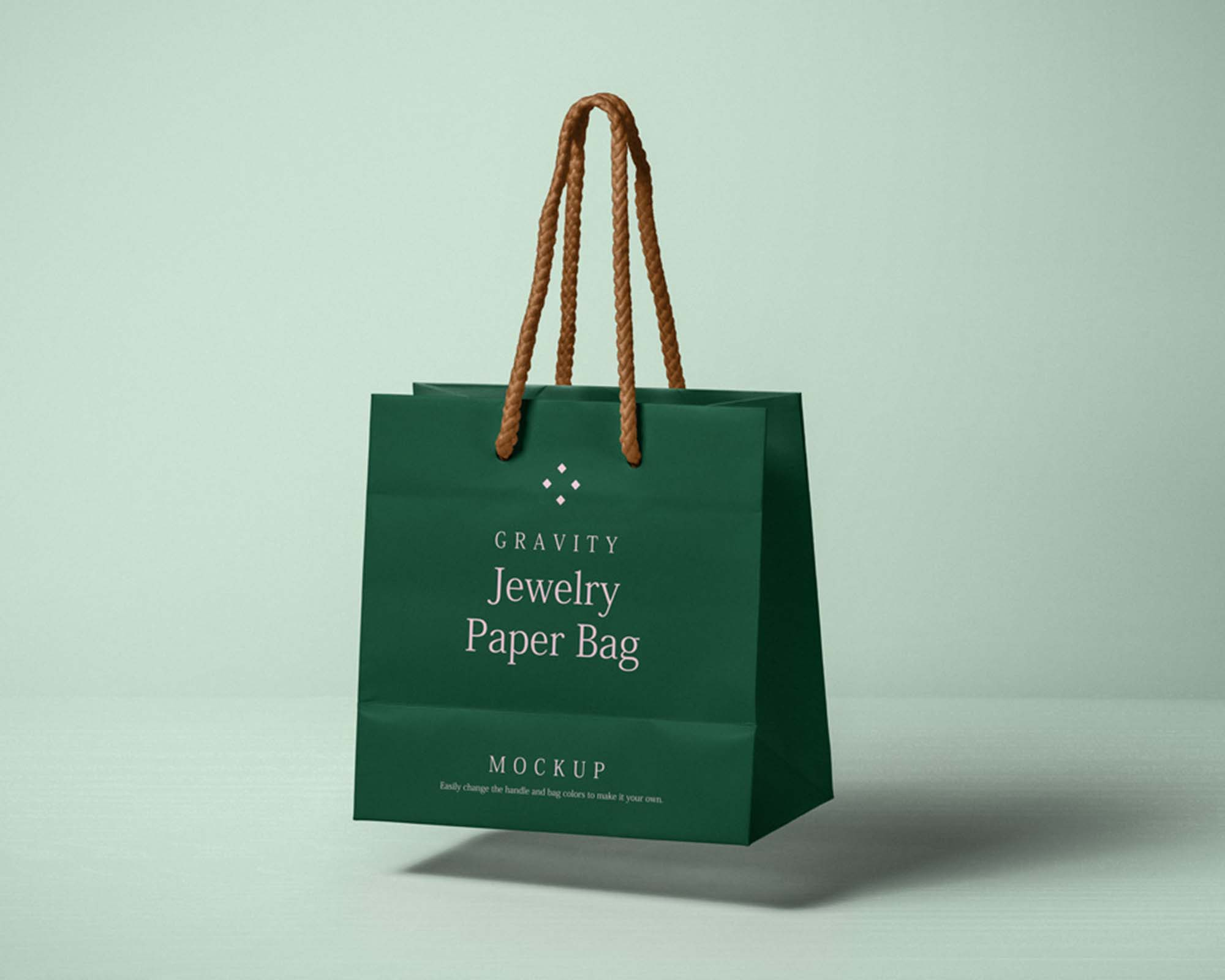 Rolled brown paper bag mockup with copy space. Free Gravity Paper Bag Mockup Psd
