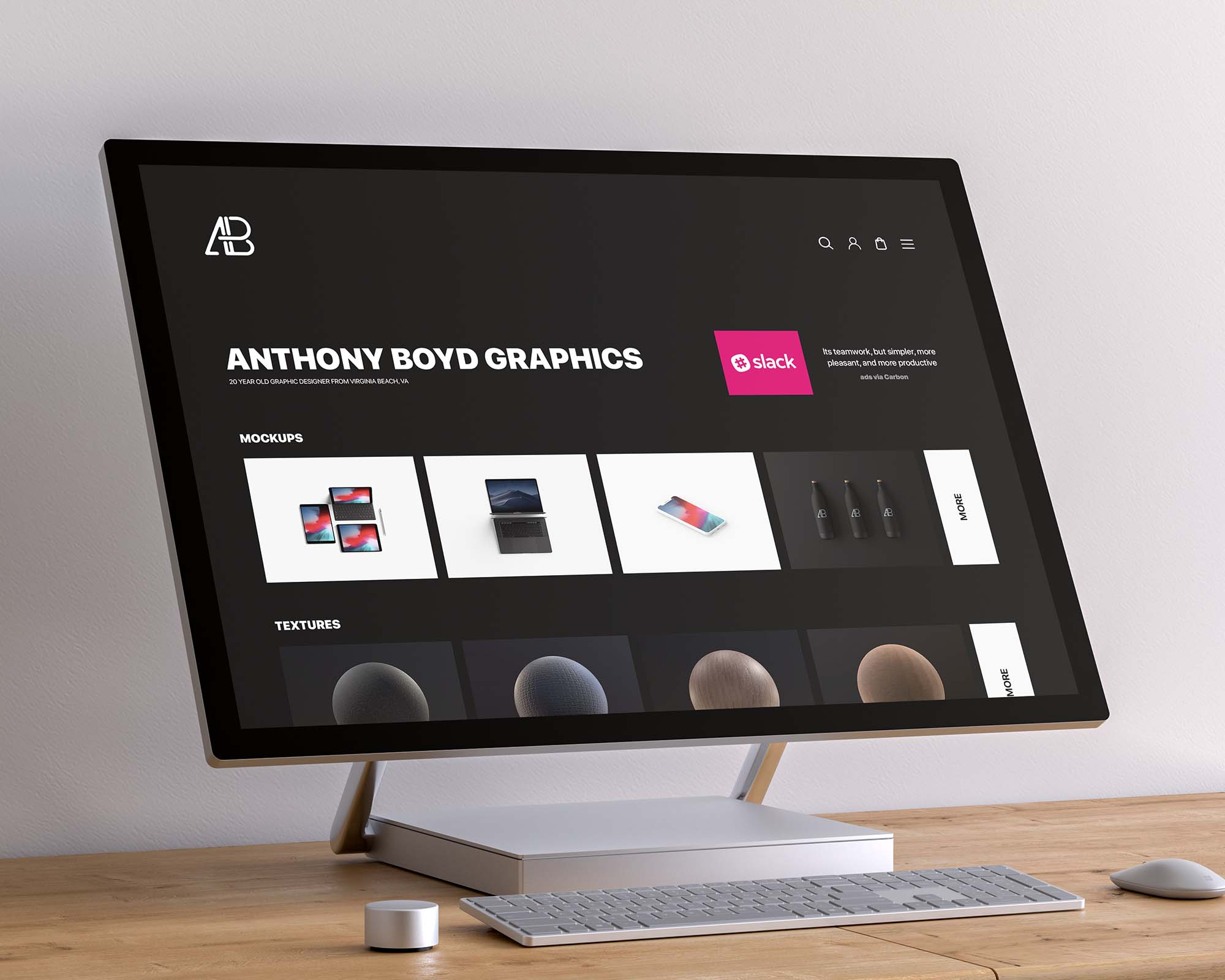 Free Surface Studio Screen Mockup Psd