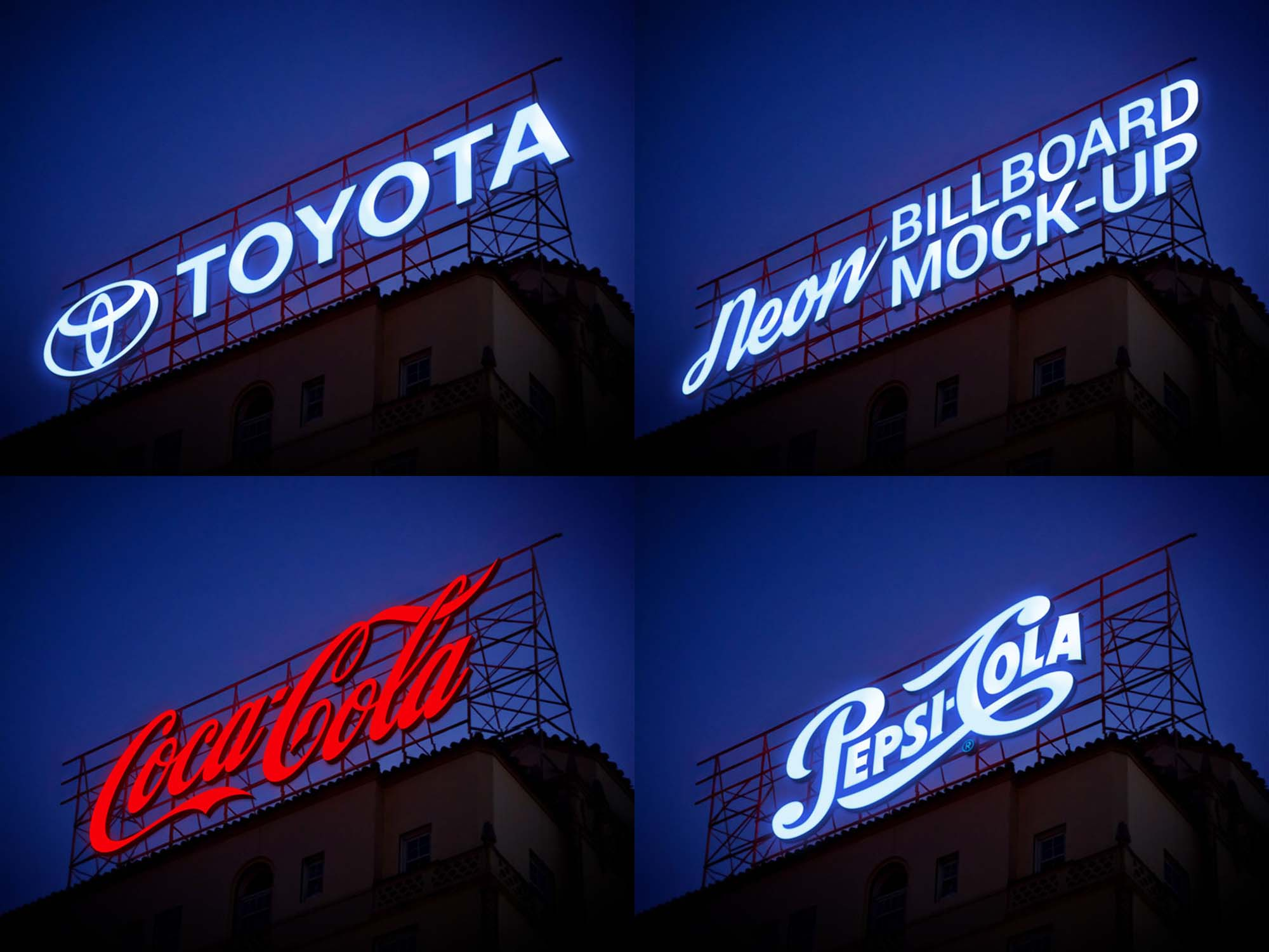 Just open smart object layer, paste your work and save in photoshop. Free Neon Sign Billboard Mockup Psd