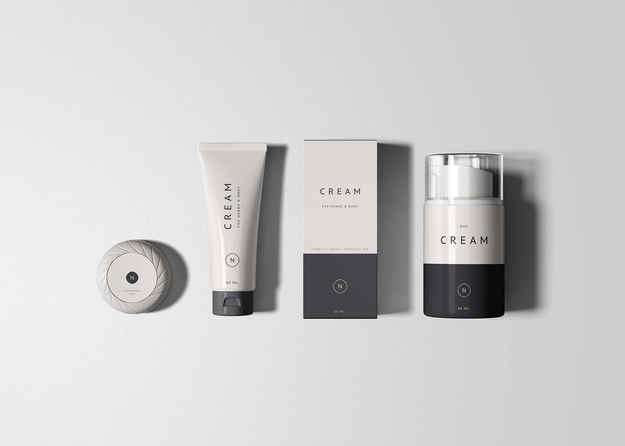 This set includes cosmetic bottles of. Free Cosmetics Packaging Mockup Psd