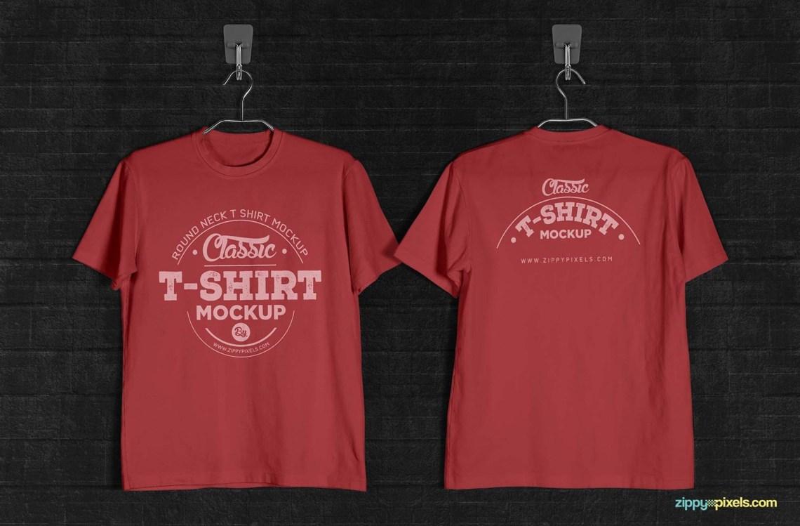 Download Vintage Round Neck T-Shirt Mockup (PSD)