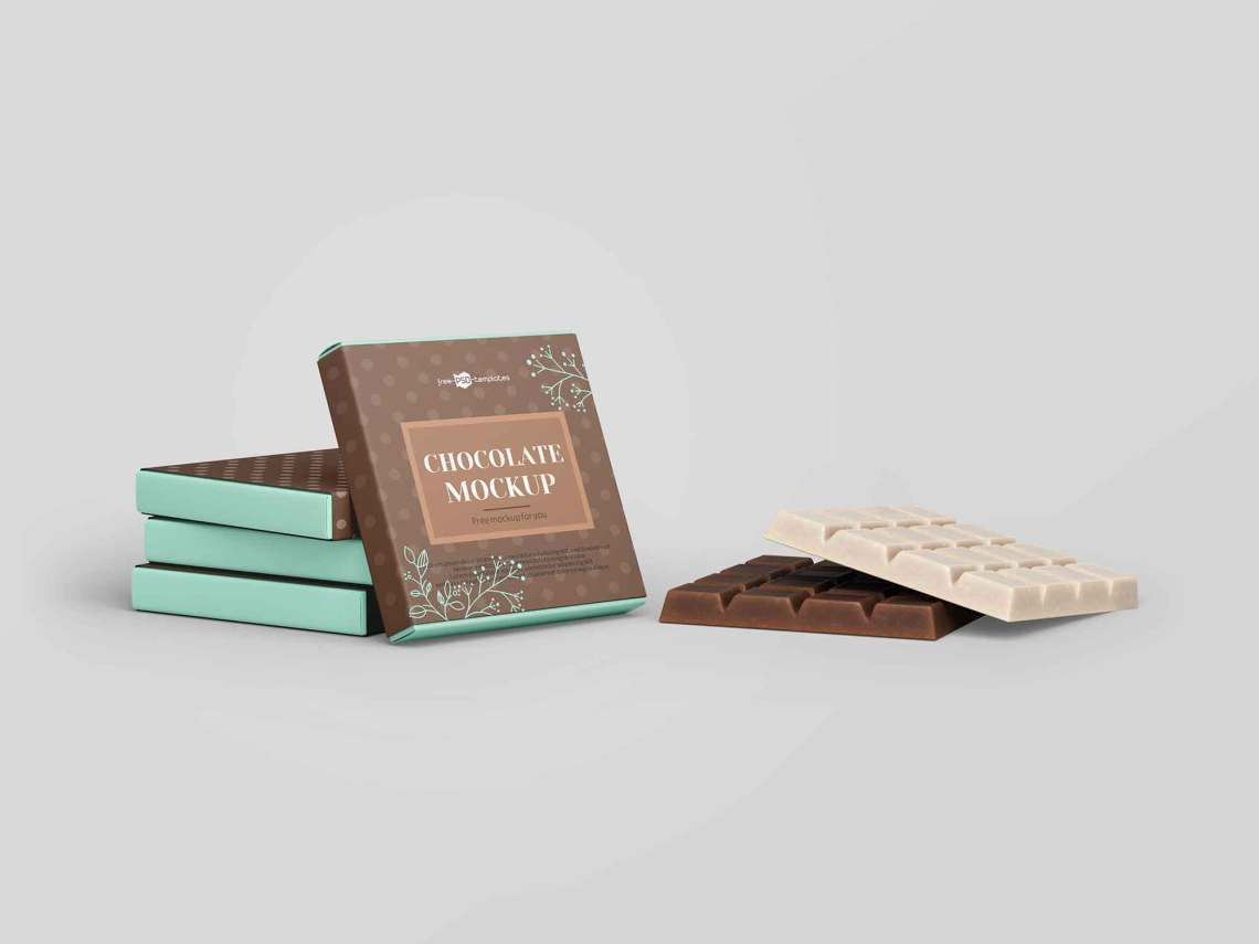 Download Free Square Bar of Chocolate Mockup (PSD)